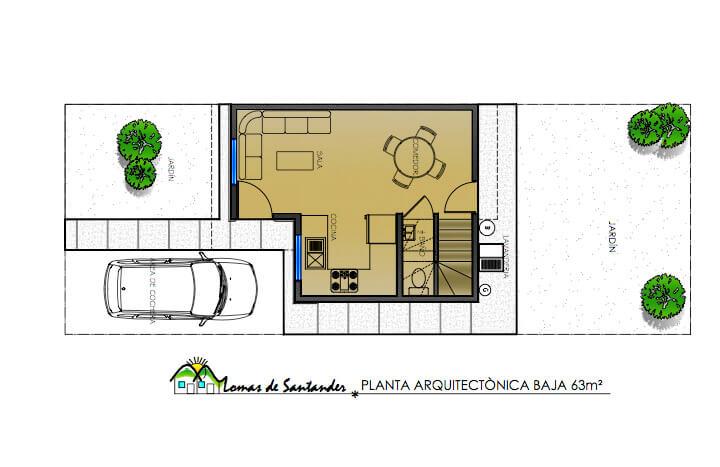 Planta Baja, Modelo 63, Fraccionamiento Lomas de Santander
